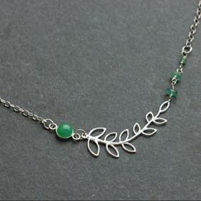 Emerald Willow Leaf Necklace