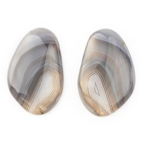Pair of Botswana Agate Freeform Cabochons 29.5x19mm