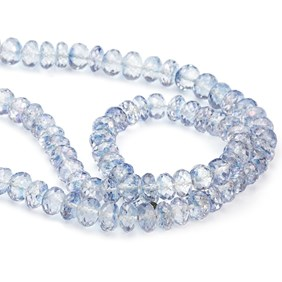 Blue Topaz Faceted Rondelle Beads, Approx 7-8mm