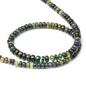 Ethiopian Smoked Black Opal Rondelle Beads, Pack of 10 Beads