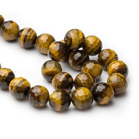 Golden Tiger Eye Faceted Round Beads, 18mm