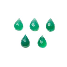 Green Onyx Faceted Drop Briolette Beads, Approx From 6x4mm To 11x6mm, Pack Of 10 Beads