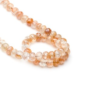 Sunstone Faceted Rondelle Beads, Approx 8mm