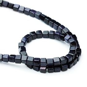 Blue Goldstone Cube Beads, Approx 6mm