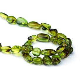 Green Amber Oval Nugget Beads, Approx From 6x4mm To 9x8mm