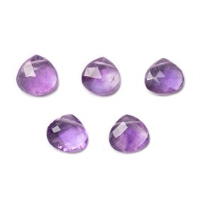 Amethyst Faceted Heart Briolette Beads, Approx 10mm To 14mm