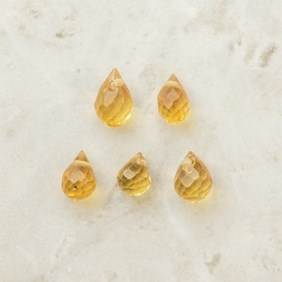 Citrine Faceted Drop Briolette Beads, Approx 3x2.5mm, Packs of 10 Beads