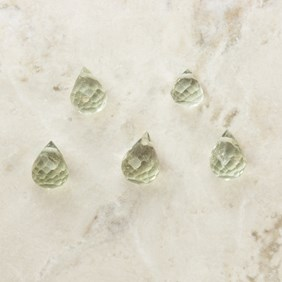Green Amethyst Faceted Drop Briolette Beads, Approx 3x2.5mm, Pack of 10 Beads