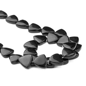 Black Stone Trillion Shape Beads Approx 14mm