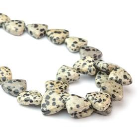 Dalmatian Jasper Trillion Shape Beads, Approx 14mm
