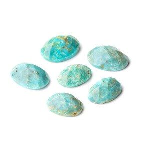 Untreated Natural Turquoise Faceted Checker Cut Stones, Approx 8x6mm Oval