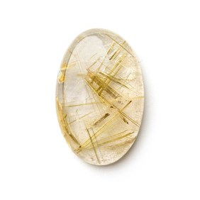 Golden Rutile Quartz 30x19.5mm Oval Cabochon