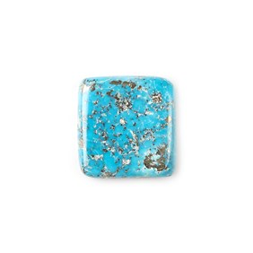 Untreated Natural Persian Turquoise Square Cabochon, Approx 19.5mm