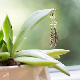 Peridot Leaf Hoop Earrings