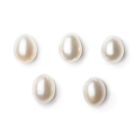 Cultured Freshwater Top Drilled White Pearls, Approx 9mm Drop Shape