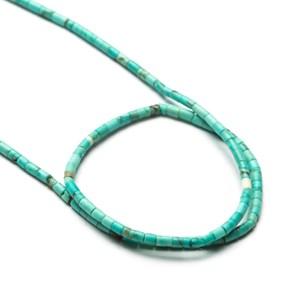 Persian Turquoise Matt Finished Miniature Tube Bead, Approx 1.5x1mm