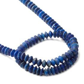 Lapis Lazuli Matt Finished Rondelle Beads, Approx 4x1.5mm To 4.5x3mm