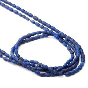 Lapis Lazuli Matt Finished Barrel Shape Beads, Approx 4x2.5mm