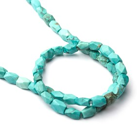 Persian Turquoise Faceted Matt Finished Tube Beads, Approx 4.5x3.5mm