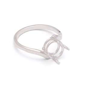 Sterling Silver Pre-Notched Twist Style Ring for One 10x8mm Oval Faceted Stone