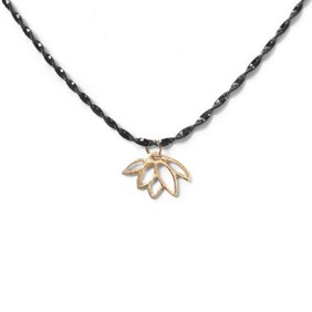 Gold Vermeil Lotus Flower Black Necklace