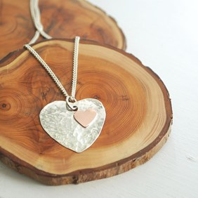 Hammered Copper & Silver Heart Pendant Tool Kit