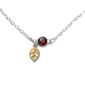 Autumn Leaf & Garnet Necklace
