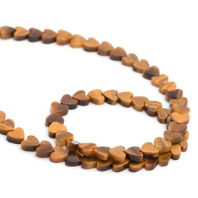 Tiger's Eye Heart Beads, 5mm