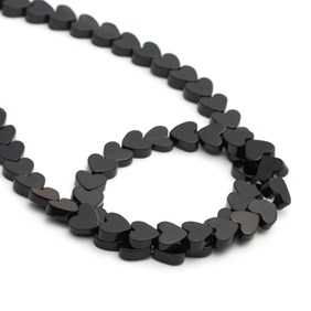 Black Onyx Heart Beads, 5mm