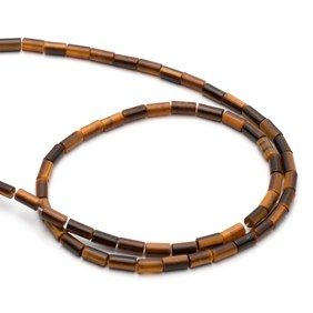 Tiger's Eye Cylinder Beads, Approx 6x4mm