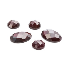 Garnet Checker Cut Cabochons, Approx 14x10mm Oval