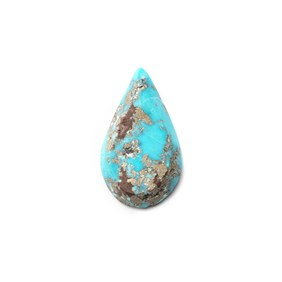 Untreated Natural Persian Turquoise Teardrop Cabochon, Approx 21x12mm