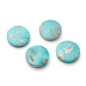 Untreated Natural Persian Turquoise Round Cabochons, Approx 20mm