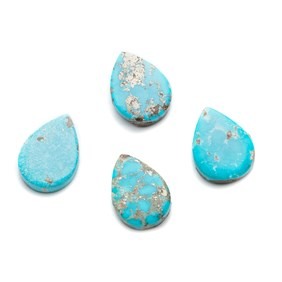 Untreated Natural Persian Turquoise Teardrop Cabochons, Approx 17.5x12.5mm