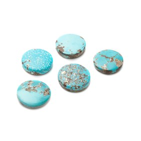 Untreated Natural Persian Turquoise Round Cabochons, Approx 16mm
