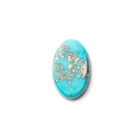 Untreated Natural Persian Turquoise Oval Cabochon, Approx 21.5x14mm