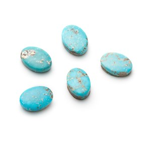 Untreated Natural Persian Turquoise Oval Cabochons, Approx 14x10mm.