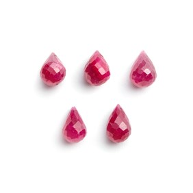 Ruby Drop Shape Faceted Briolette Gemstone Beads