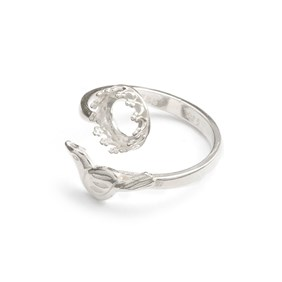 Sterling Silver Adjustable Gallery Wire Bird Ring For 8mm Round Cabochon