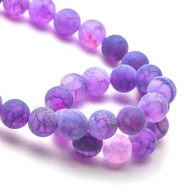 Lilac Frosted Cracked Agate Round Beads