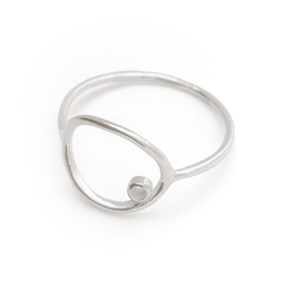Sterling Silver Oval Open Loop Ring For 1.5mm Faceted Stone