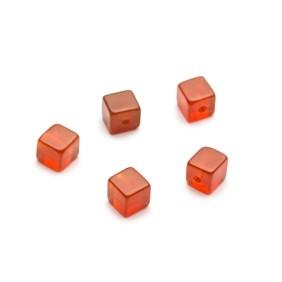Carnelian Half Drilled Cube Beads, 4mm
