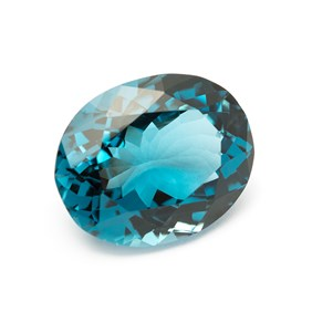 London Blue Topaz 25x20mm Faceted Oval Stone