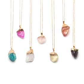 Ready to Wear Rough Rock Crystal Stone Necklace
