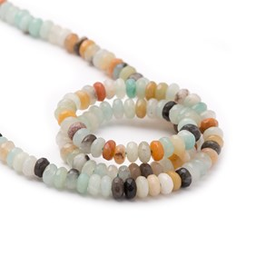 Multi-Coloured Faceted Amazonite Rondelle Beads, Approx 4x3mm