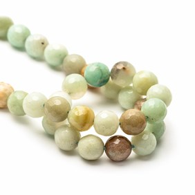 Multi-coloured Faceted Amazonite Round Beads
