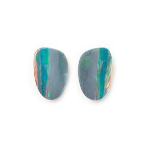 A Pair of Australian Free-Form Opal Doublets, Approx  8.5x5mm