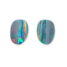 A Pair of Australian Free-Form Opal Doublets