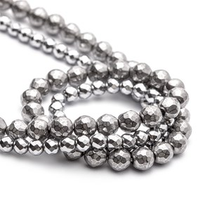 Hematite Silver Tone Plated Faceted Beads, 6mm Round