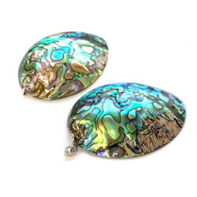 Paua Shell Oval Pendants, Approx 50x45mm